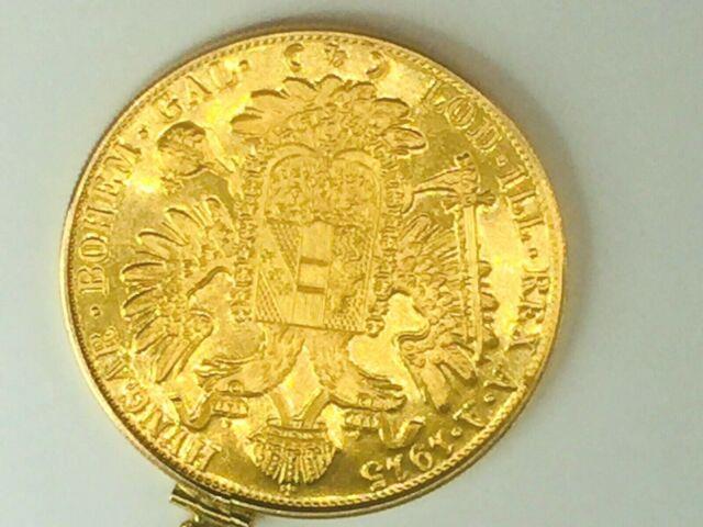 1915 Austrian 4 Ducat Gold Coin (. 4438 Troy Ounce) Set In 14k Bezel 17.5gm