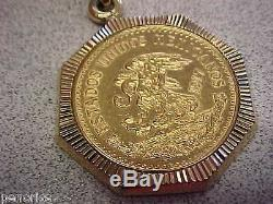 1917 Veinte Pesos Gold Coin in 14k Gold Bezel with 21 inch 14k Gold Necklace