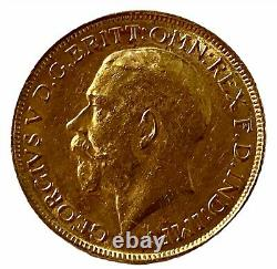 1918 Gold Full Sovereign Coin King George V (1910-1936) Melbourne Mint Fine