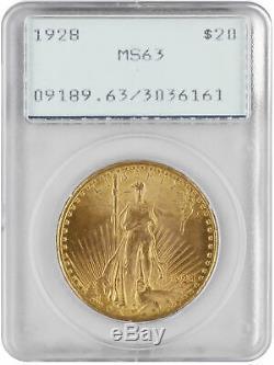 1928 $20 Gold Saint Gaudens Double Eagle MS63 PCGS Green. 900 fine gold