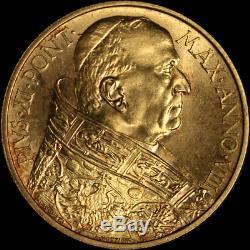 1929 Vatican City 100 Lire 0.2546oz AGW 0.900 Fine Pope Pius XI
