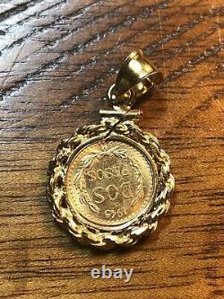 1945 2 Pesos 22k Fine Mexican Gold Coin Dos Pesos W 14k Gf Bezel