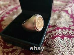 1945 22K Dos Pesos Coin with14K Ring Size 7.5 Signet Mexican Coin 11.8 grams