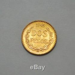 1945 MS / UNC. 900 Fine Gold Coin, $2 MEXICO DOS PESOS GOLD COIN, 1.66 g