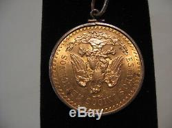 1947 Mexico 50 Peso Gold Coin withneckless bezel 37.5 Grams Fine Gold