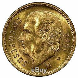1955 Mexico 5 pesos Gold coin BU. 1205 fine gold