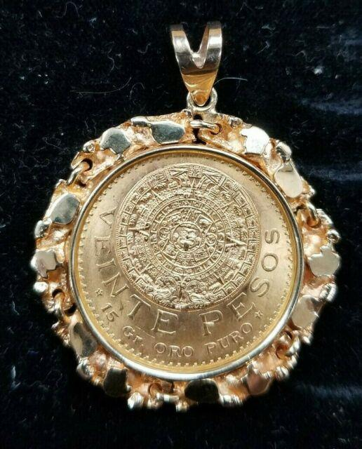 1959 22k Mexican 20 Pesos Coin & 14k Gold Nugget Pendant I882