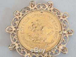 1959 Pure Gold Mexico 20 Pesos Coin In 14k & Ruby Bezel Pendant 25 Gm
