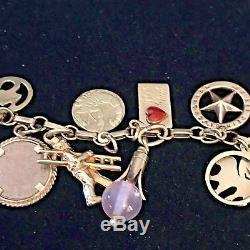 1960's 14k Y/Gold Zodiac Enamel Hearts Gems Coins Dice Pearl 23 Charms Bracelet