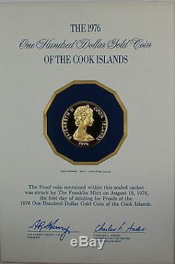1976 $100 Cook Islands Proof Gold Coin, 900/1000 Fine Gold, Amer. Bicentennial