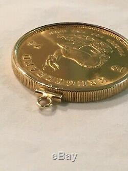 1976 South Africa Gold Krugerrand, 1 oz Fine Gold, Removable Gold Bezel