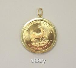 1977 South African Krugerrand Coin 1 Oz. Fine Gold in 14k Yellow Gold Pendant