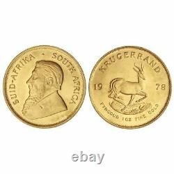 1978 South African 1oz Fine Gold Krugerrand Bullion Coin Free Shipping
