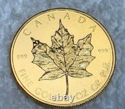 1979 1 Oz. 999 Fine Pure Gold Canadian Maple Leaf Rare FIRST Issue Young Head