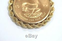 1979 1 Oz Fine Gold South African Krugerrand Coin in 14k Yellow Gold Pendant