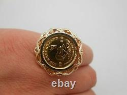 1980 South Africa 1/10oz Fine Gold Krugerrand Coin Large 14k Yellow Gold Ring