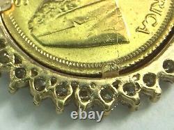 1982 1/10 S Afraid krugerrand gold coin in 0.68ct Diamond bezel. 23.5mm. 5.8gm