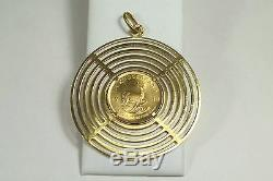 1982 1/4 oz. Fine Gold South Africa Krugerrand Coin in 18k Multi Ring Pendant