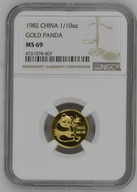 1982 China Gold Panda 1/10 Oz Fine Gold Coin Ngc Ms 69 #m
