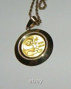 1982 Chinese GOLD PANDA Coin 1/10TH OZ withGOLD Bezel & 14K GOLD CHAIN
