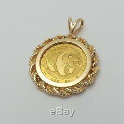 1983 1/10oz. 999 Chinese Panda 10 Yuan Coin14K Gold Rope Edge Charm Pendant