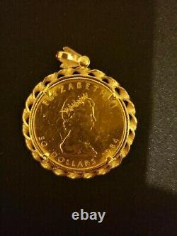 1984 1 oz Canadian Maple Leaf Coin. 9999 Gold With Vintage 18k Gold Bezel