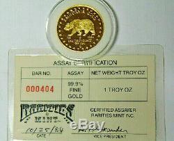 1984 California Gold Grizzly Bear 1 oz. 999 Fine Gold Rarities Mint Assay