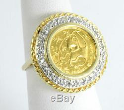 1985 China 5 Yuan 1/20 oz Fine Gold. 999 Panda Coin Ring with 0.15 CTW Diamonds