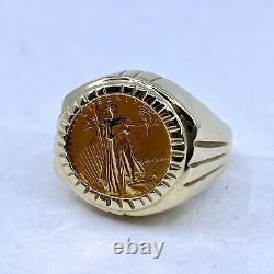 1986 1/10 Oz Fine Gold 5 Dollar American Gold Eagle Coin Ring Fine 14k Gold