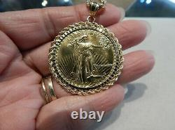1986 1 oz Fine Gold $50 Dollars Liberty Coin Pendant 10k Gold Rope Chain 53.2 GR