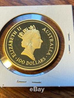 1986 Australia 100 Dollar Gold Coin. 1 Ounce Gem Proof. Nugget. Fine Gold