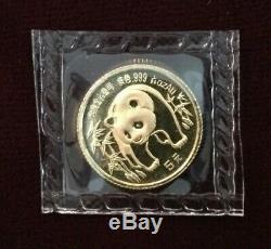 1986 China Gold Panda 1/20 Oz. 5 Yuan. 999 Fine Gold Sealed in Original Plastic
