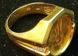 1986 Fine Gold 5 Dollar American Gold Eagle Coin Ring Fine 14k Gold. 4 oz size10