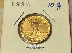 1986 MCMLXXXVI $10 Gold American Eagle 1/4 Oz Fine Gold Coin
