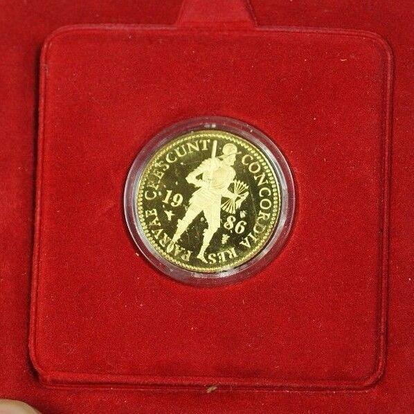 1986 Netherlands Proof Gold Ducat Coin 1586 Design. 983 Fine 3,494 Grains W Case