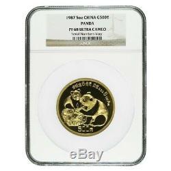 1987 5 oz Chinese Proof Gold Panda 500 Yuan. 999 Fine NGC PF 68 UCAM