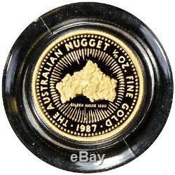 1987-P 1/10 oz Fine Gold Australian Nugget Proof Coin Golden Aussie 1980 #Z823