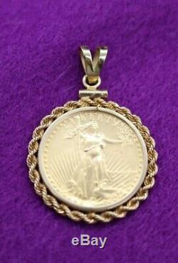 1987 Standing Lady Liberty 10 DOLLAR 1/4 oz FINE GOLD COIN PENDANT 14 Kt BEZEL