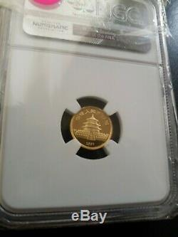 1987S China 5 Yuan Panda 5Y 1/20 oz. 999 Fine Gold Coin NGC Graded MS68