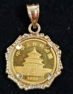 1988 Chinese Panda. 999 Fine Gold Coin- 1/20 of a Troy Ounce in 14kt Bezel