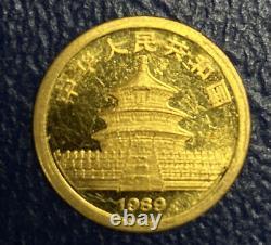 1989 1/20th oz. 999 Fine Gold Chinese Panda 5 yuan Ex Jewelry Bullion Carat Coin