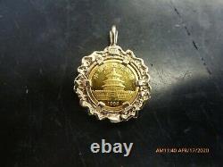 1989 Chinese Panda 1/20 OZ. 999 Fine Gold Coin Bullion Charm Pendant