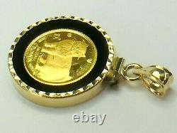 1989 Isle of Man crown 1/25 oz 999 gold coin in 14K bezel onyx border 4.2gm
