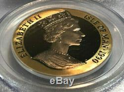 1990 Isle of Man Penny Black Proof 1oz. 999 Fine Gold Coin, PCGS Gem Proof DCAM