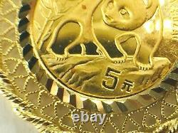 1990 Panda 5 yen 1 /20 oz gold coin in 14k bezel pendant. 3.0gm