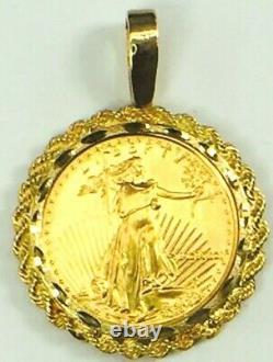 1991 22K $25.00 Liberty 1/2 oz gold coin in 14K Rope link bezel 24.8gm