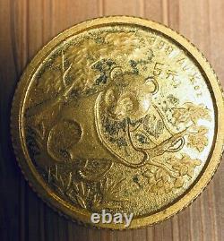 1992 Panda gold coin 1/20 oz 5 yuan AU China. 999 Fineness
