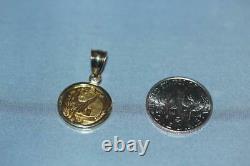 1993 5 Yuan 1/20 oz 0.999 Fine Gold Panda Coin Pendant on 14K Bezel 2.4 Grams TW