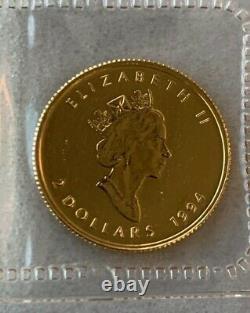 1994 Canada $2 Gold. 9999 Fine 1/15 oz Maple Leaf Sealed Low 3450 Mintage
