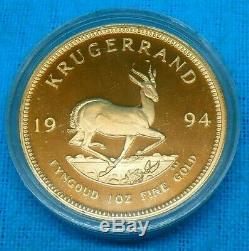 1994 South Africa Mint SAM Proof Fine GOLD 1 Full Krugerrand Cased Coin